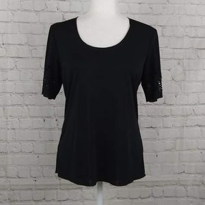 Persona Women Black Top Made In Italy Size XS